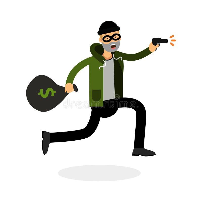 Le voleur dans un masque fonctionnant avec une arme à feu et l'argent mettent en sac l'illustration de caractère illustration libre de droits