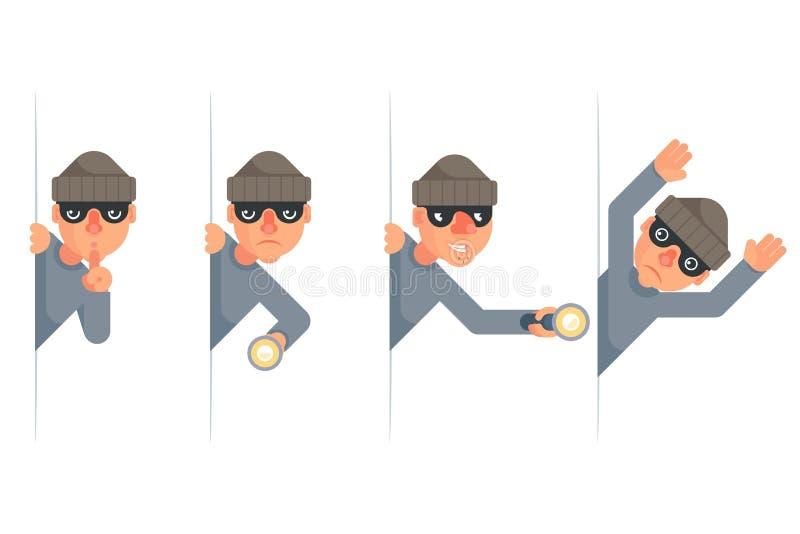 Le voleur mauvais saisissant avidement la lampe-torche de main piaulant reddition abandonnent à des personnages de dessin animé l illustration stock