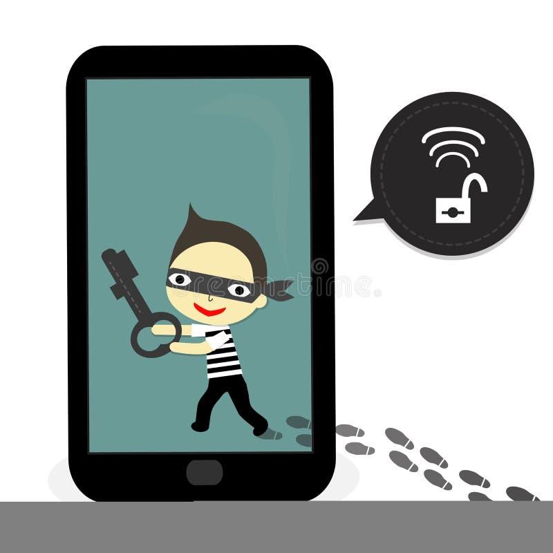 Le voleur ouvrent le mobile illustration libre de droits