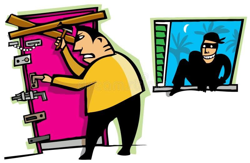 Le voleur pénètre par effraction dans la maison illustration stock
