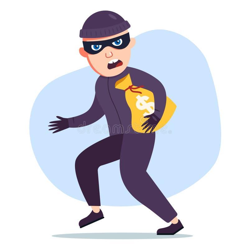 Le voleur a volé un sac d'argent le criminel illustration libre de droits
