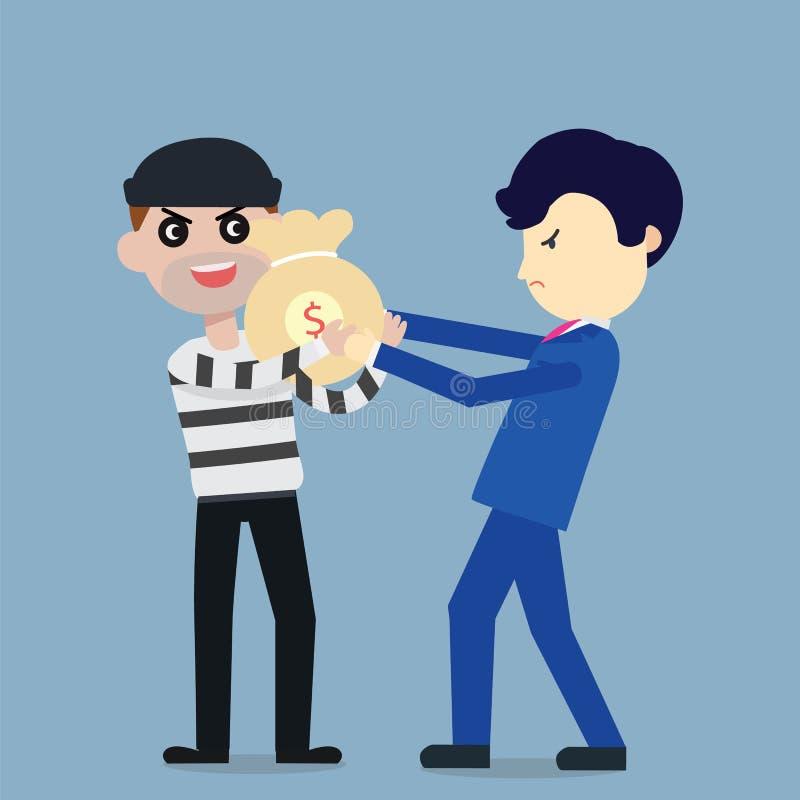 Le voleur volent l'argent de la conception plate de bande dessinée d'homme d'affaires illustration libre de droits