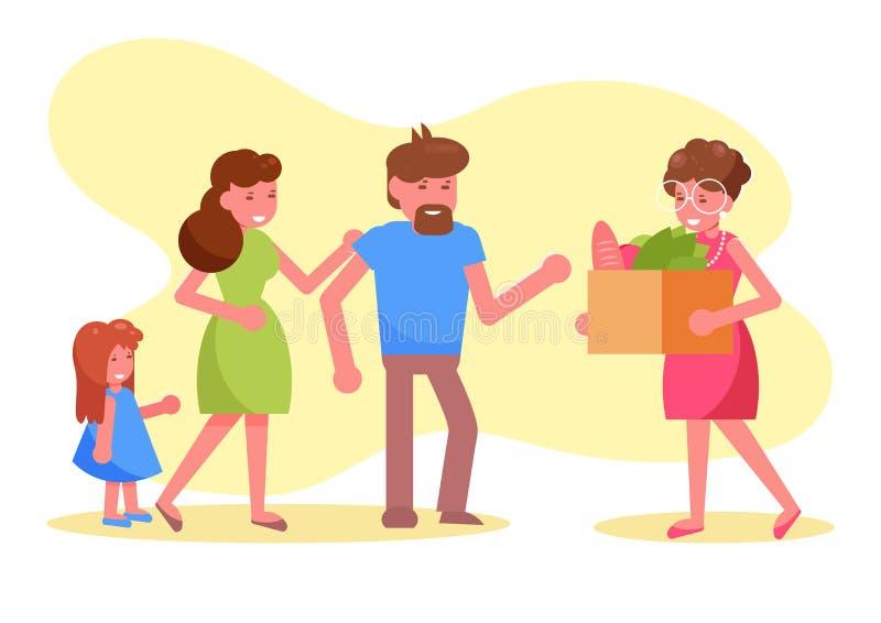 Le volontaire de charité donne un repas à un vecteur pauvre de famille cartoon Art d'isolement illustration stock