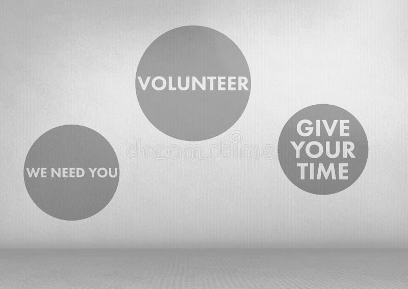 Le volontaire donnent vos graphiques de temps avec le fond gris illustration stock