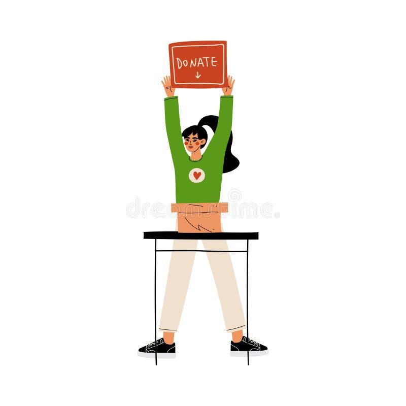 Le volontaire féminin avec donnent la boîte, offrir, la charité et l'illustration de soutien de vecteur illustration stock