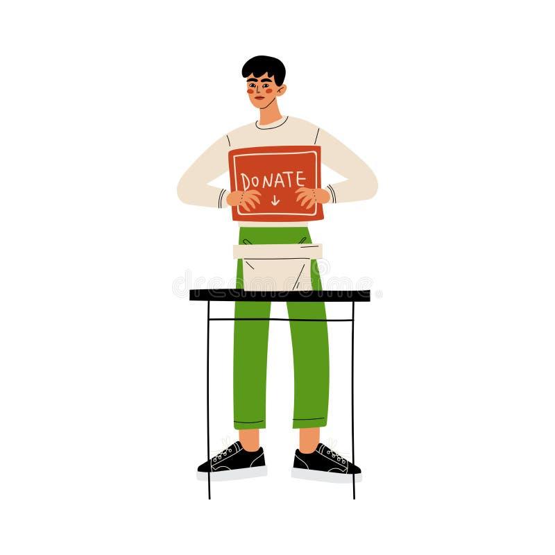 Le volontaire masculin avec donnent la boîte, offrir, la charité et l'illustration de soutien de vecteur illustration libre de droits