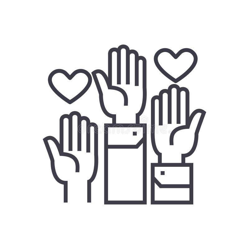 Le volontaire remet l'icône linéaire, signe, le symbole, vecteur sur le fond d'isolement illustration libre de droits