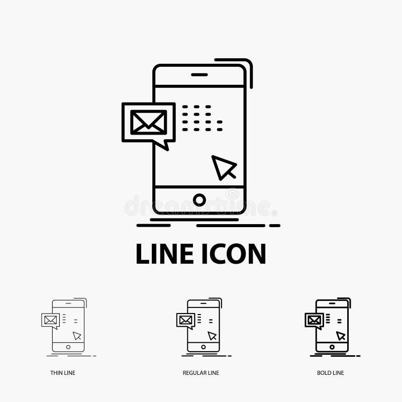 le volume, dialogue, instant, courrier, icône de message dans la ligne style mince, régulière et audacieuse Illustration de vecte illustration stock