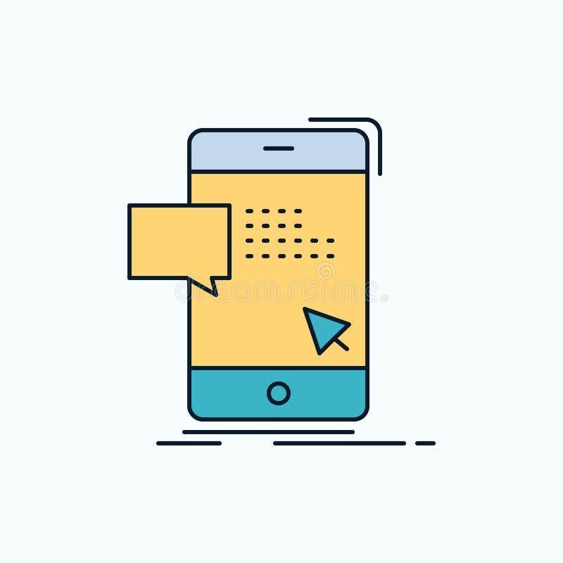 le volume, dialogue, instant, courrier, icône plate de message signe et symboles verts et jaunes pour le site Web et l'appliation illustration stock