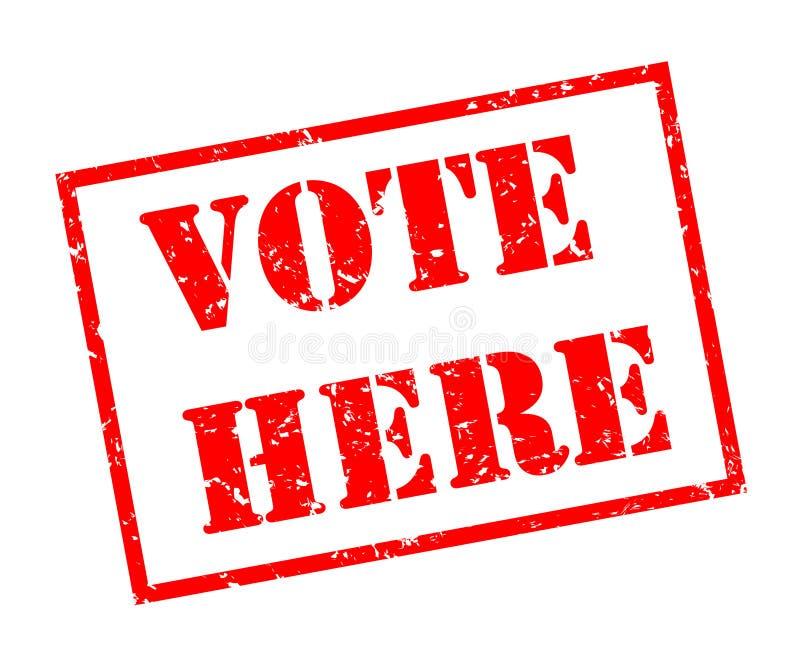 Le vote ici emboutissent sur le fond blanc illustration de vecteur
