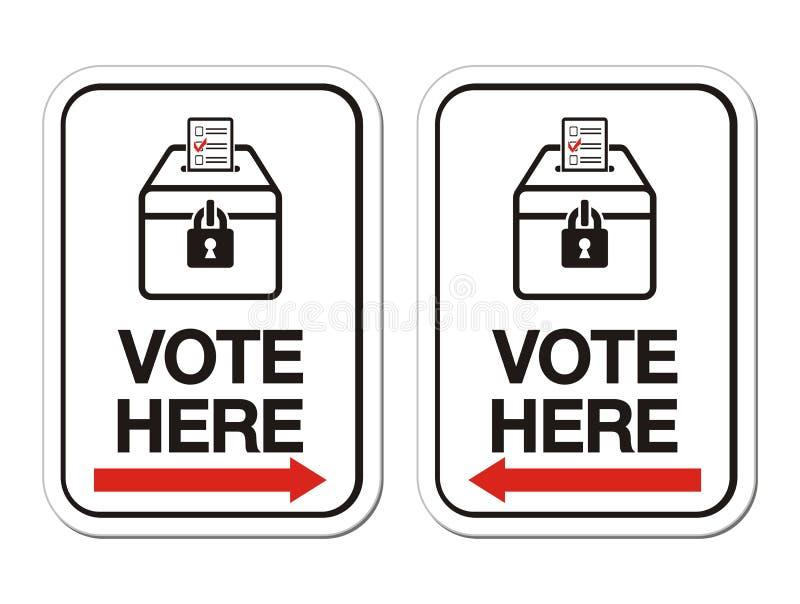 Le vote ici signent avec la flèche illustration stock
