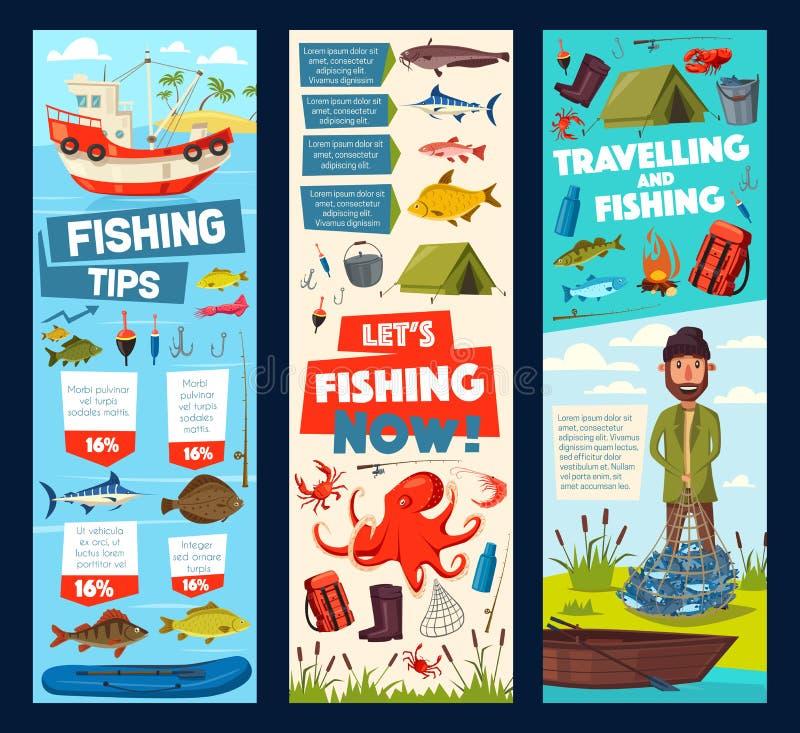 Le voyage de pêche et le crochet de poissons de pêcheur incline des bannières illustration libre de droits