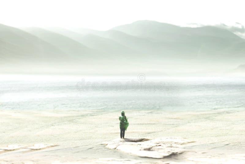 Le voyageur aventureux seul croise des montagnes de vert photos stock