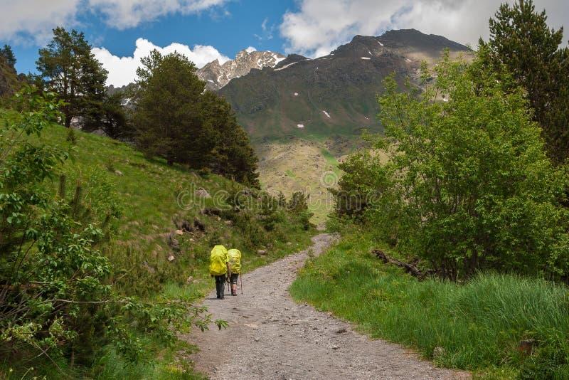Le voyageur deux avec les sacs à dos et les poteaux jaunes de trekking va vers le haut de la route de montagne au jour ensoleillé photographie stock