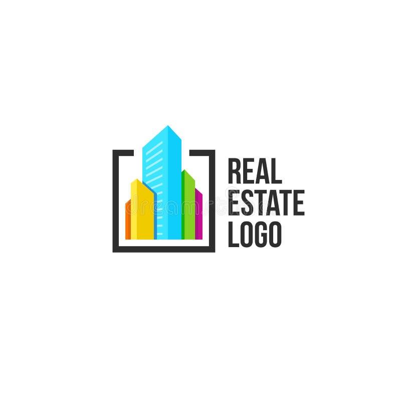 le vrai logo coloré d'agence immobilière, logotype de maison sur le blanc, icône à la maison de concept, gratte-ciel dirigent l'i illustration de vecteur