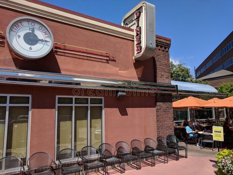 Le wagon-restaurant sur Phillips en Sioux Falls images stock