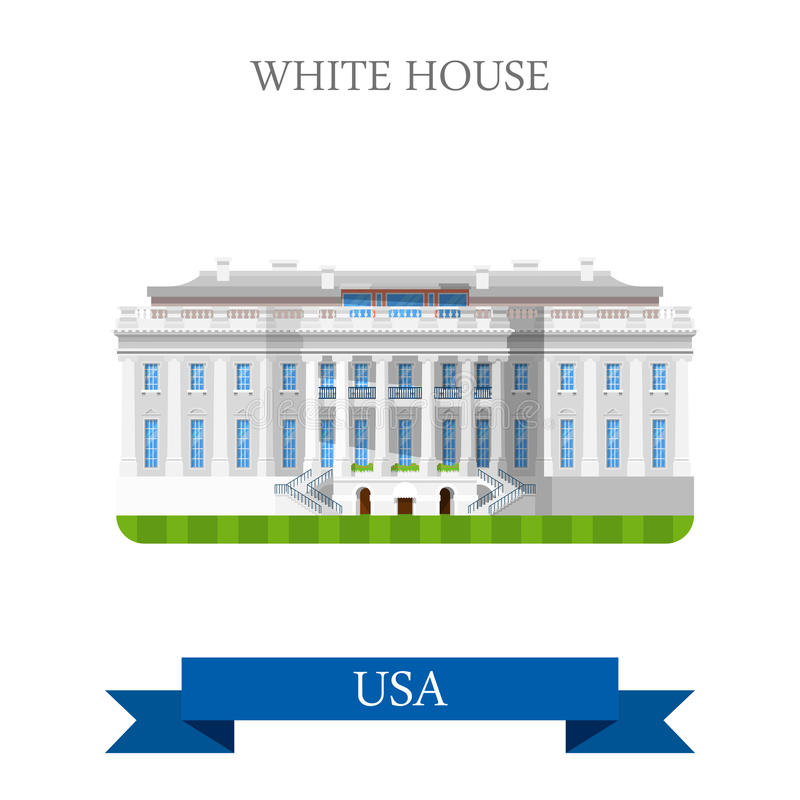 Le Washington DC Etats-Unis Etats-Unis de la Maison Blanche dirigent l'appartement illustration libre de droits