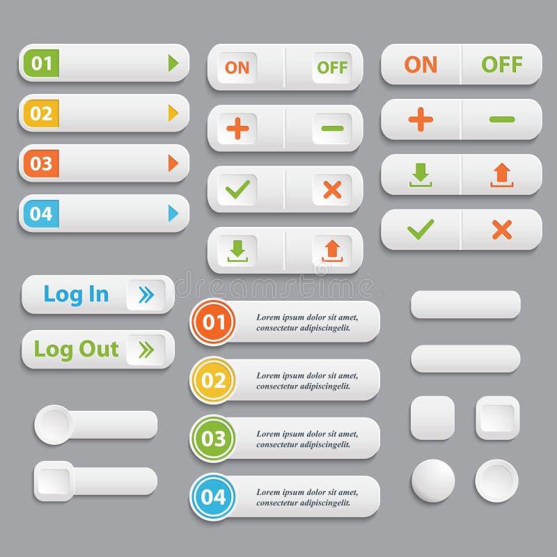 Le Web boutonne la collection Vecteur réaliste illustration de vecteur