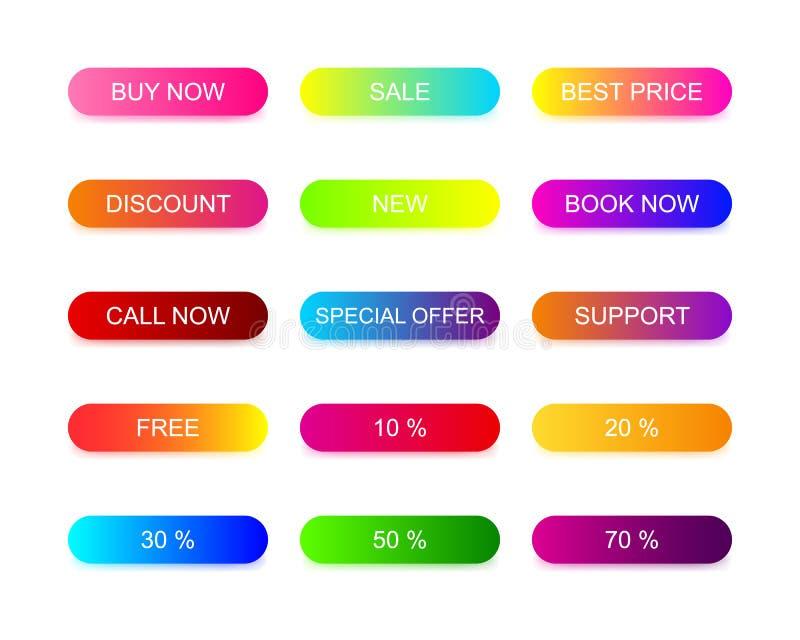 Le Web boutonne la conception plate avec le gradient à la mode coloré images libres de droits