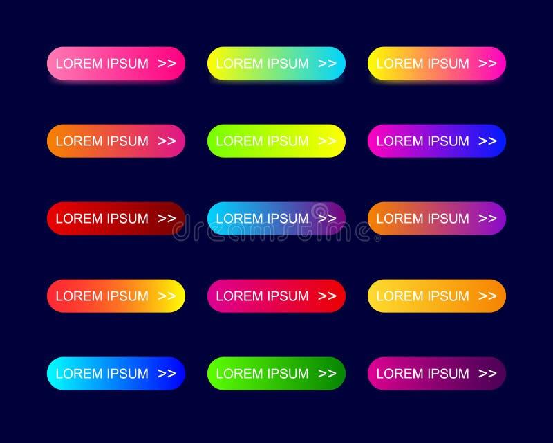 Le Web boutonne la conception plate avec le gradient à la mode coloré image stock