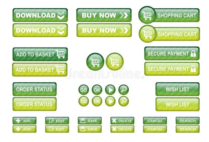 Le Web d'achats boutonne le vert illustration stock