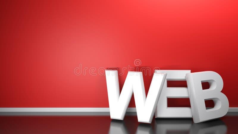 Le WEB 3D blanc écrivent au mur rouge - le rendu 3D illustration de vecteur