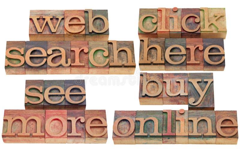 Le Web de recherche, cliquetis, achètent en ligne photographie stock libre de droits