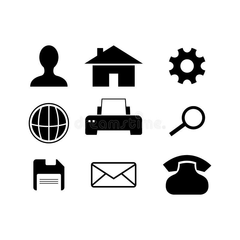 Le Web de silhouette et le vecteur d'icône de téléphone ont placé l'illustration plate de conception de conception illustration stock