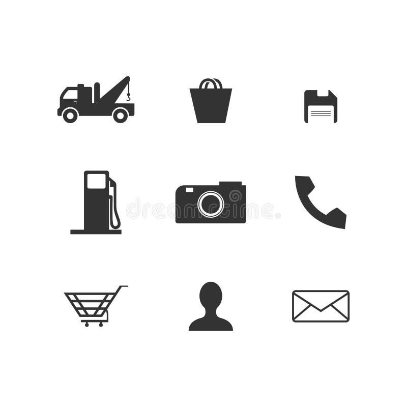 Le Web de silhouette et le vecteur d'ic?ne de t?l?phone ont plac? l'illustration plate de conception de conception illustration stock