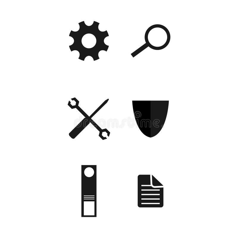 Le Web de silhouette et le vecteur d'ic?ne de t?l?phone ont plac? l'illustration plate de conception de conception illustration libre de droits