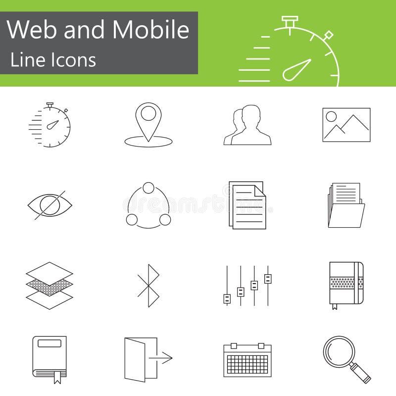 Le Web et la ligne mobile icônes placent, décrivent le vecteur illustration libre de droits