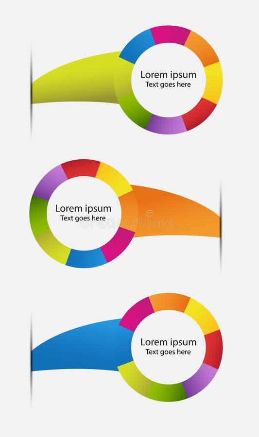 Le Web multicolore étiquette des insignes illustration stock
