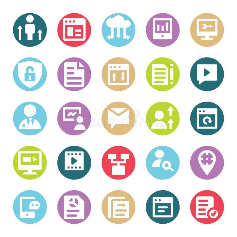 Le Web, le SEO, les outils et la vente de Digital deux vecteurs de Glyph de couleur ont isolé le paquet editable d'icônes illustration libre de droits