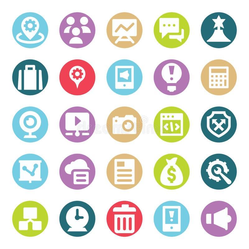 Le Web, le SEO, les outils et la vente de Digital deux vecteurs de Glyph de couleur ont isolé le paquet editable d'icônes illustration stock