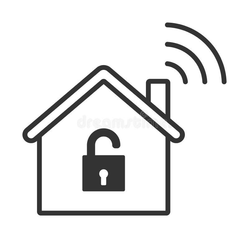 Le wifi à la maison ouvrent l'icône Maison intelligente illustration de vecteur