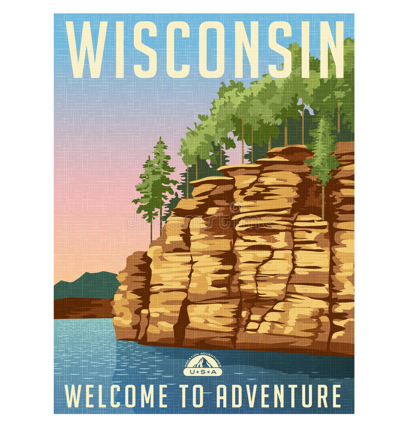 Le Wisconsin, Etats-Unis voyagent affiche illustration stock