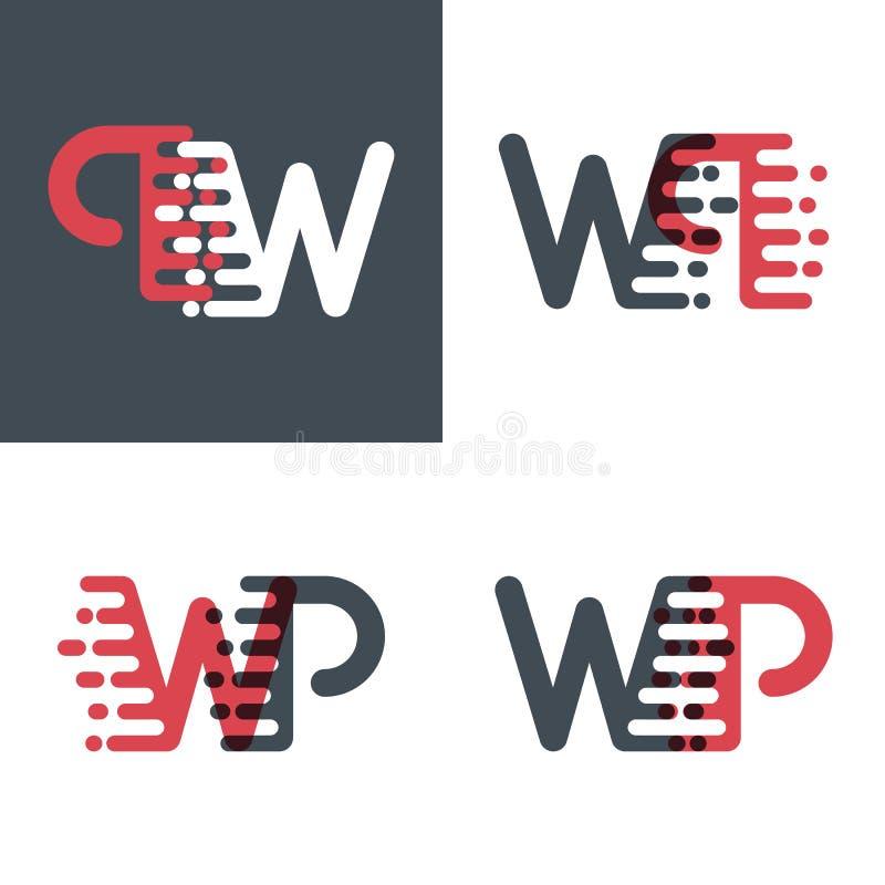 Le wp marque avec des lettres le logo avec le rose de vitesse d'accent et gris-foncé illustration libre de droits