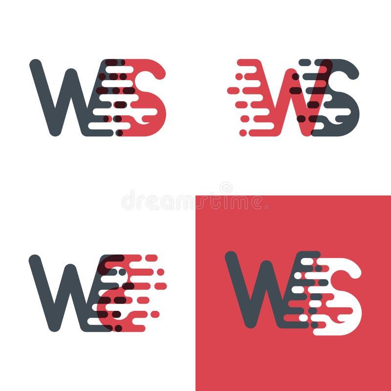 Le WS marque avec des lettres le logo avec le rose de vitesse d'accent et gris-foncé illustration de vecteur