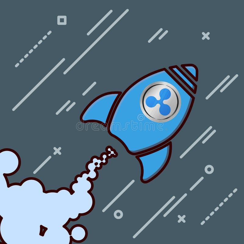 le xrp d'ondulation aiment l'icône de fusée montant la crypto devise pompent  illustration libre de droits