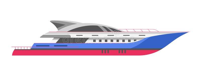 Le yacht ou le bateau marin speedboar, de voilier et de canot automobile de mer de croisière dirigent l'icône illustration stock