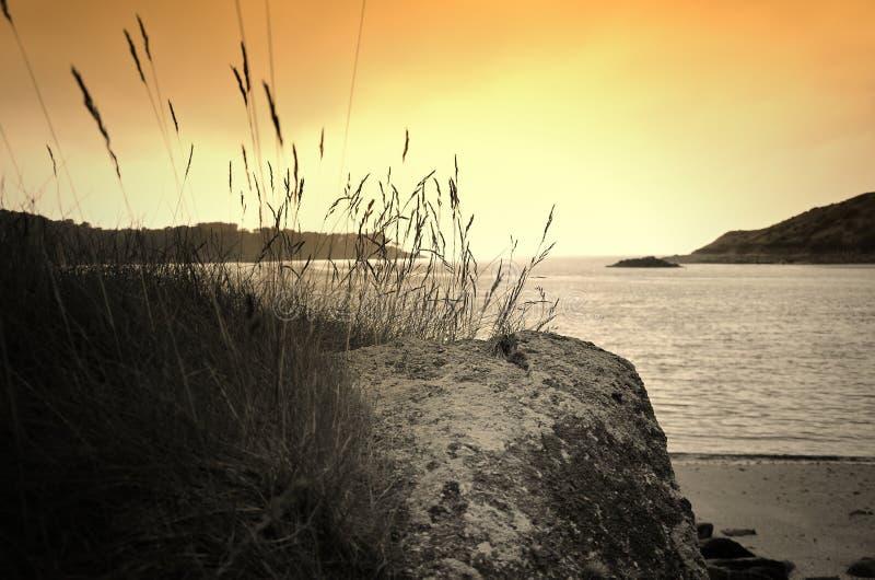 Le Yaudet, Bretagna, Francia al tramonto fotografia stock