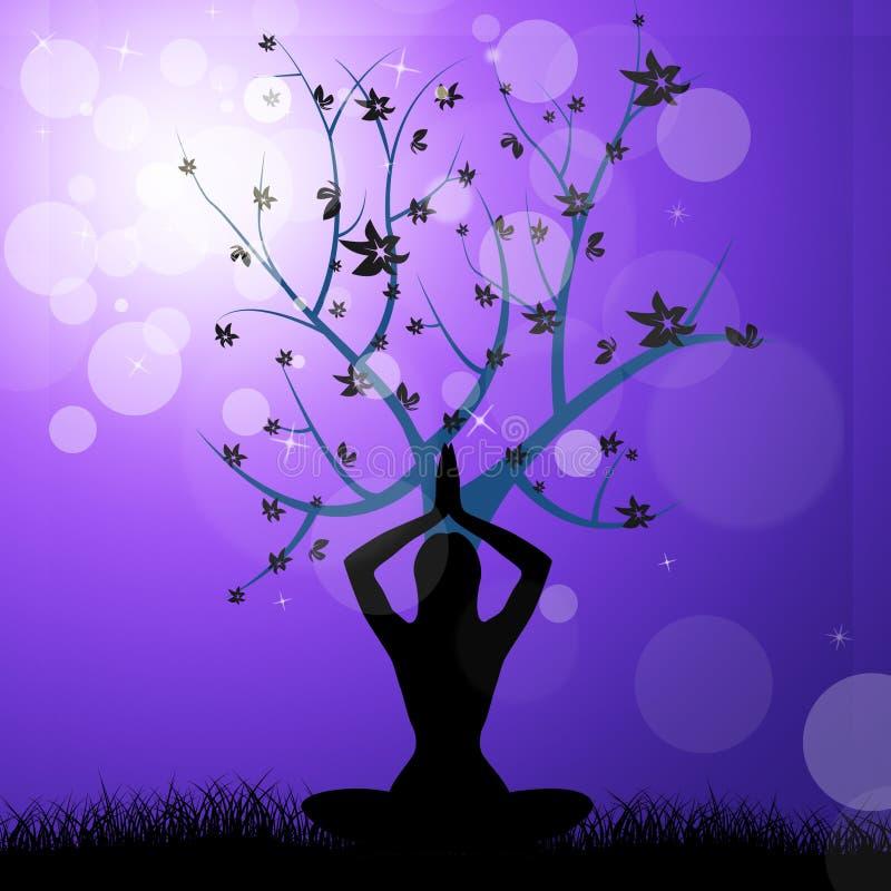 Le yoga d'arbre signifie la sensation paisible et le tronc illustration de vecteur