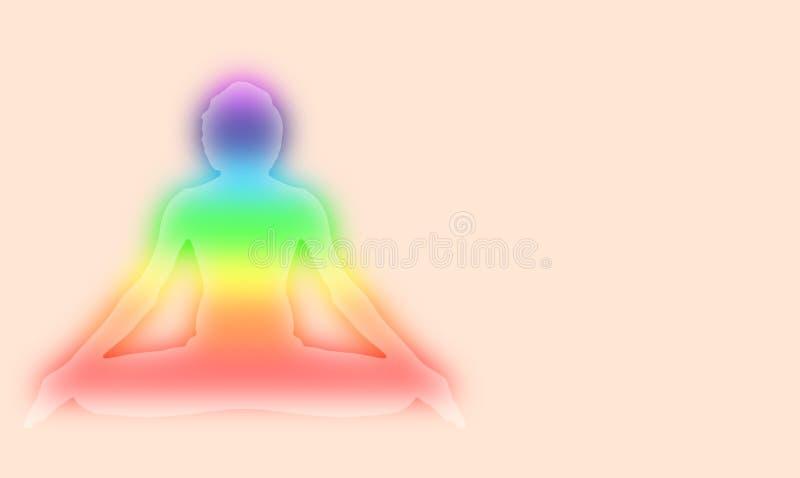 Le yoga et la méditation posent avec la lumière de chakra d'aura de sept énergies sur l'illustration rose-clair de gradient de fo illustration stock