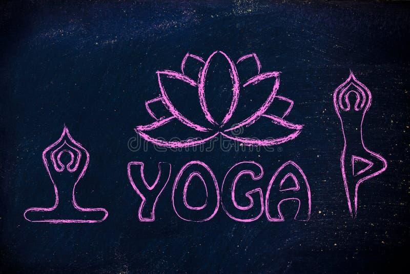 Le yoga a inspiré l'illustration, le corps d'esprit et l'âme image stock