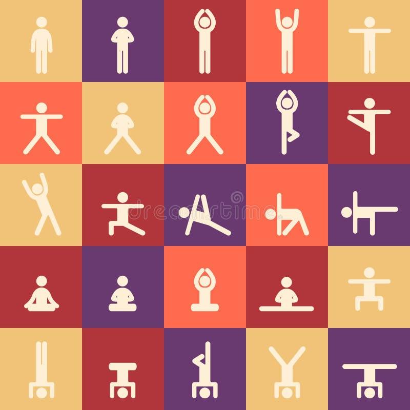 Le yoga pose l'ensemble d'icônes d'asanas vecteur pr?t d'image d'illustrations de t?l?chargement Mod?le sans couture de yoga Pour illustration stock