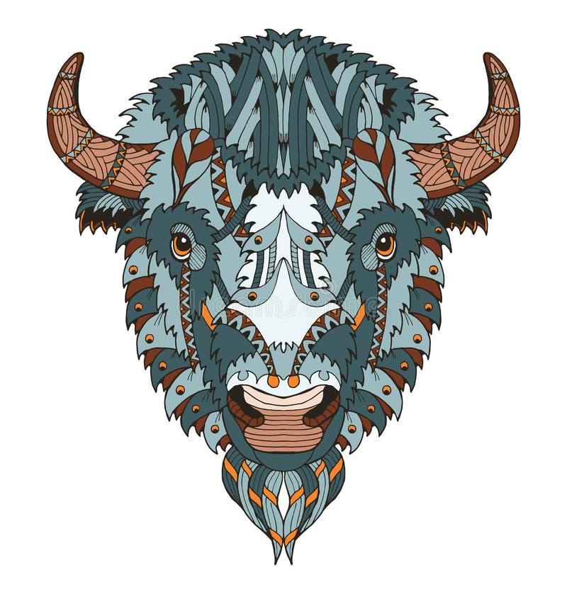 Le zentangle américain de tête de buffle a stylisé, dirige, illustration, illustration de vecteur