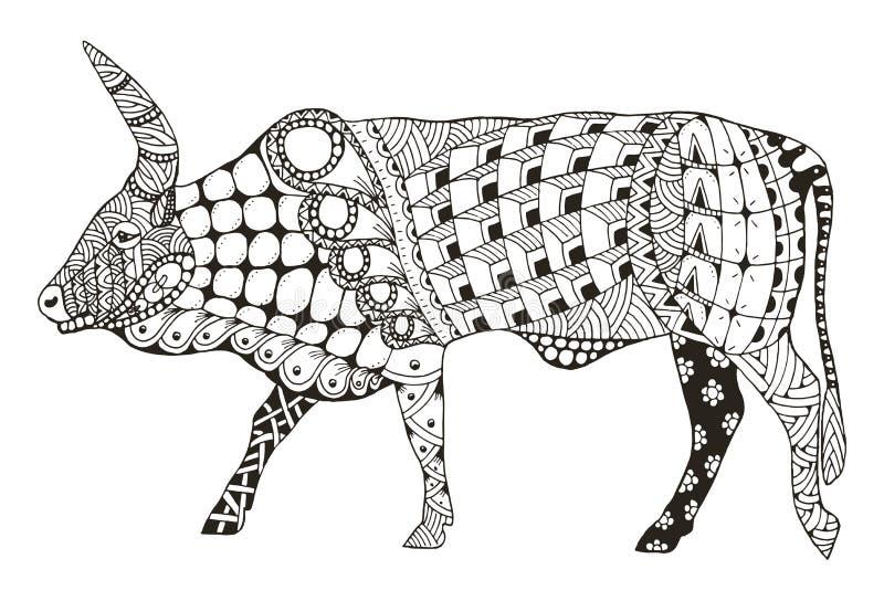 Le zentangle chinois de signe de zodiaque de boeuf a stylisé, illustration de vecteur, illustration de vecteur