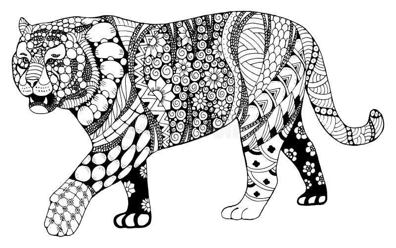 Le zentangle chinois de signe de zodiaque de tigre a stylisé, dirige, illustrati illustration stock