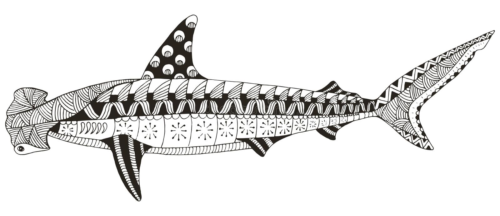 Le zentangle de requin de poisson marteau a stylis dirige illustration patte illustration de - Dessin poisson stylise ...