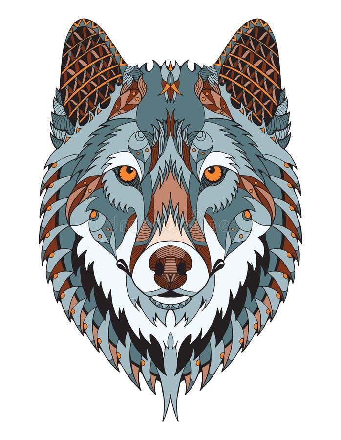 Le zentangle de tête de loup gris a stylisé, dirige, illustration, freehan illustration de vecteur